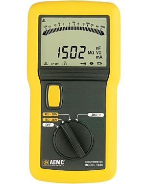 AEMC 1030: Megohmmeter Model 1030 (Digital w/Analog Bargraph, 250V, 500V)