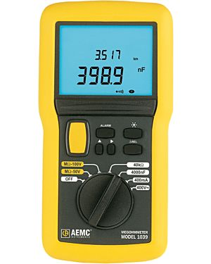 AEMC 1039: Megohmmeter Model 1039 (Digital w/Analog Bargraph, Alarm, Timer, _Rel, Backlight, 50V, 100V, mA, nF, km)