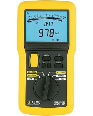 AEMC 1045: Megohmmeter Model 1045 (Digital w/Analog Bargraph, Alarm, Timer, Backlight, 250V, 500V, 1000V, 400k_, Continuity)