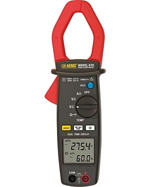 AEMC 670: Clamp-on Meter Model 670 (Dual Display, TRMS, AC Amps, AC/DC Volts, Ohms, Continuity, Frequency, & Temperature)