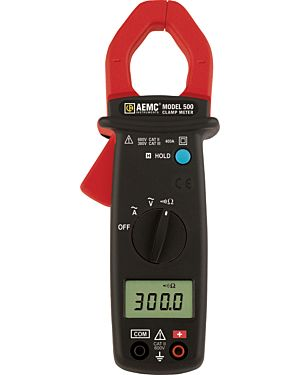 AEMC 500: Clamp-on Meter Model 500 (AC, 400AAC, 600VAC, Ohms, Continuity)