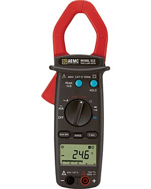 AEMC 512: Clamp-on Meter Model 512 (TRMS, 1000AAC, 750VAC/1000VDC, Hz, Ohms, Continuity)
