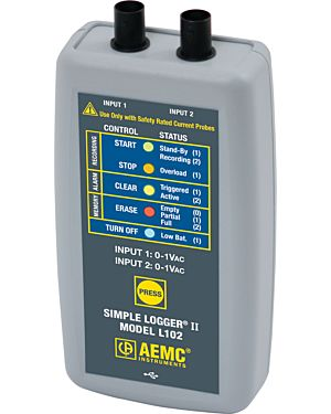 AEMC L102: Simple Logger II Model L102 (2-Channel, TRMS, 0 to 1VAC, DataView Software)